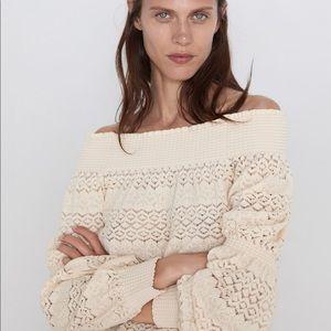 Zara Textured Off The Shoulder Top